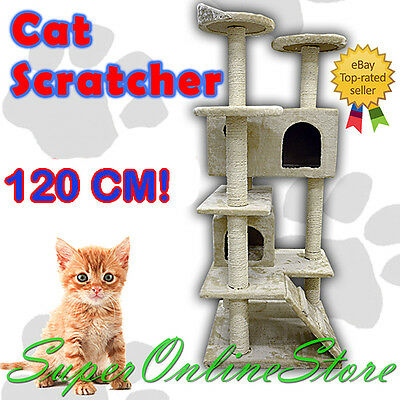 120 cm Cat Tree Scratch Post Furniture House Condo Gym Home Bed Beige