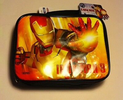"""MARVEL IRON MAN 3 AVENGERS THERMOS INSULATED LUNCHBOX KIT 9.5"""" X 7"""" NEW"""