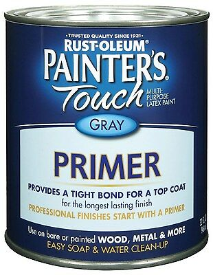 New Rust-Oleum 1980502 Painters Touch Quart Latex, Flat Gray Primer