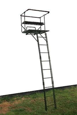 High Seat Double 2 Man Tree Stand Stalking Deer Hunting Rifle Shooting Camo roe