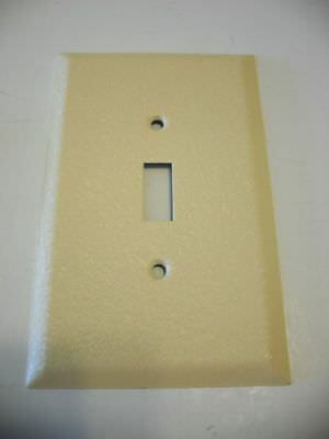 Vtg NOS Crackle Textured Metal Light Switch Toggle Wall Cover Plate IVORY