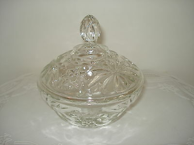 PRESSED GLASS - EAPG - CANDY DISH WITH LID - STARS AND FLOWERS DESIGN- BEAUTIFUL