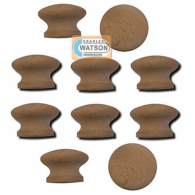40mm PACK 10 Wooden Door Knob Natural Wood Kitchen Cupboard Drawer Bedroom