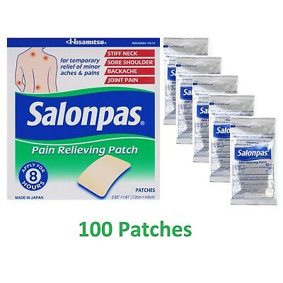 Salonpas Pain Relieving Patch x 100 patches 7.2 x 4.6cm Hisamitsu Japan 2019 exp