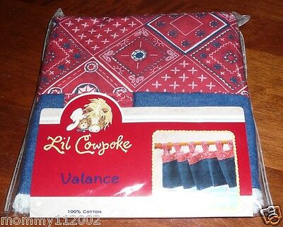 Lil Cowpoke Tab Top VALANCE indigo denim blue red bandana fringe little NEW