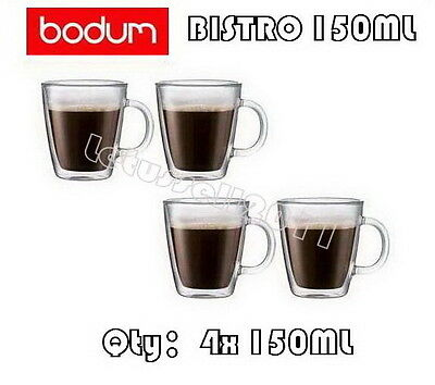IN BOX BODUM BISTRO DOUBLE WALL CLEAR THERMO-GLASS MUGS FOR COFFEE TEA x4 150ML