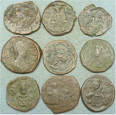Lot Of 9 Large Byzantine Bronze Coins 400461203033 $44.50