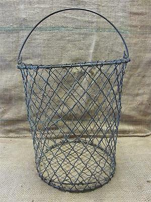 Vintage Metal Wire Waste Basket > Antique Old Shabby Garden Iron Kitchen 8199