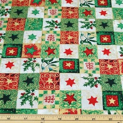 100% Cotton Fabric Christmas Stars And Holly Festive Squares