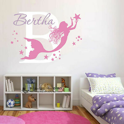 Mermaid Custom Personalised Wall Stickers Nursery Decor Girls Decal Art Mural AU