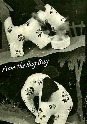 Vintage 1940s 'rag bag' elephant & scottie dog toy sewing pattern-paper pieces