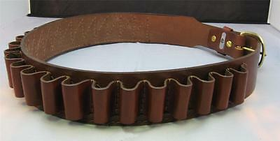 "LEATHER SHOTGUN SHELL AMMO BELT 25 LOOPS - 20 gauge - BROWN NEW 34"" to 50"" sizes"
