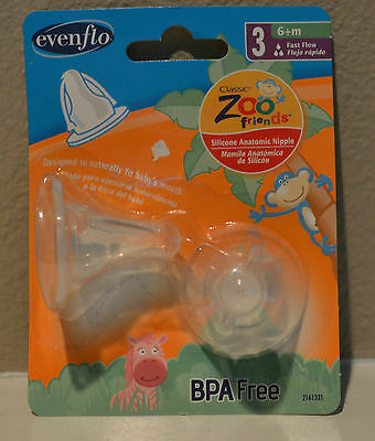 2 Evenflo Classic Zoo Friends Silicone Anatomic Nipple BPA Free 3 fast flow 6+m