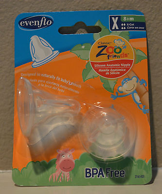 2 Evenflo Classic Zoo Friends Silicone Anatomic Nipple BPA Free X - Cut 8+m NEW
