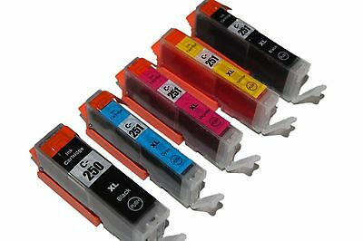 5 pack of non-OEM ink Fits Canon MG5420 MG5422 CLI 251XL PGI 250XL With New Chip
