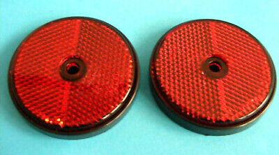 2 x Red Rear Screw on 60mm Round Reflectors - Trailers & Horse Box