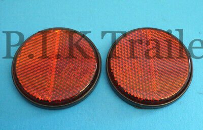 2 x RED Self Adhesive Stick on Round 60mm Rear Reflector - Trailer & Caravan