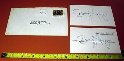 1980 Danny Anige Hand Signed 3X5 Card Lot (2) W/original Envelope W/coa Free S&h