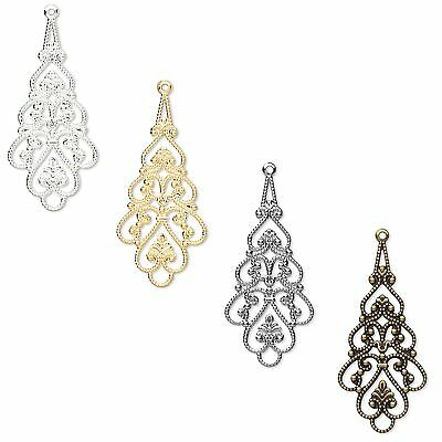 10 Plated Brass Metal Filigree Drop Chandelier Earring & Pendant Finding Charms