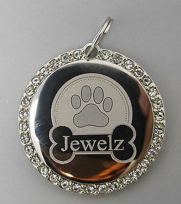 CZ Personalized Customized Engraved Circle Dog Pet Tag