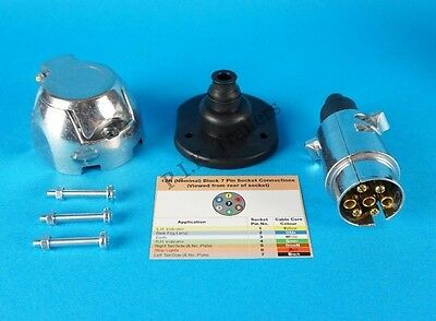 Metal 7 Pin 12N Plug & Socket with Gasket Seal & Bolts for Trailer & Caravan