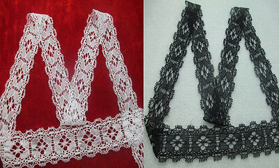 Pretty! Quality stretch lace ribbon (white / black) 10/20/50/100 yards