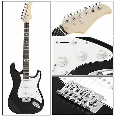 Full Size Black Electric Guitar w/ Amp,Case,Accessories Pack Beginner Starter 39