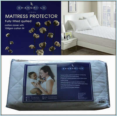 100% Cotton Cover & Fill Fully Fitted Mattress Protector For All Bed Sizes