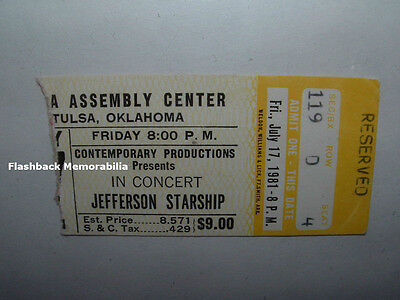 JEFFERSON STARSHIP 1981 Concert Ticket Stub TULSA OK Paul Kantner VERY RARE