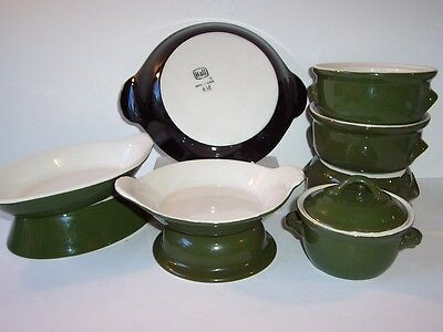 Vintage Hall Pottery Assorted Mixed Lot 10 Green (1 Black) Restaurant Ware Baker