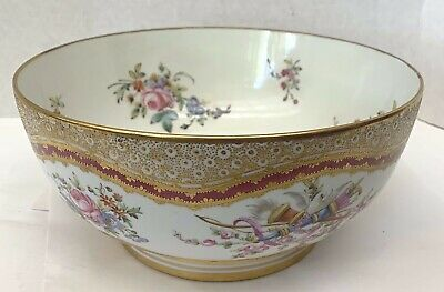 An Elegant Sevres French 19 Century Large Gold Hand Painted Bowl