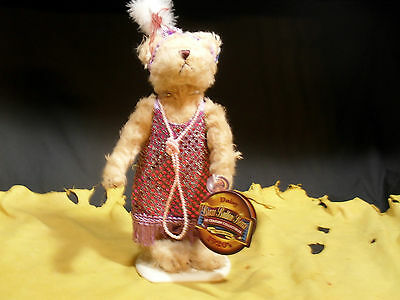 """Brass Button Bears """"Daisy"""" 1920's 20th Century Collection w/ Stand WT"""