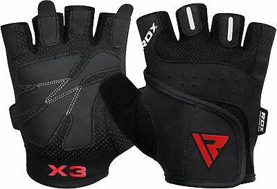 RDX Gel Weight Lifting Body Building Gloves Gym Straps Training Leather Men US