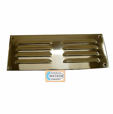 "CARLISLE BRASS HL4 9""x3"" Polished Brass Louvre Vent Cover Air Ventilator"