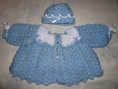 Crochet Baby Matinee Coat/Cardigan with matching Hat  (New) 0-3 months