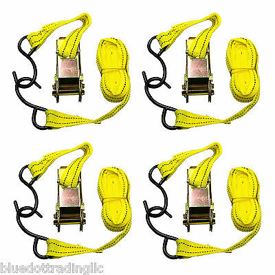 """4pc 1""""X13' Ratcheting Tie Down Cargo Straps Hauling Moving Truck Bed Motorcycle"""