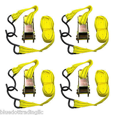"""4pc 1""""X15' Ratcheting Tie Down Cargo Straps Hauling Moving Truck Bed Motorcycle"""