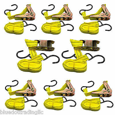 """Qty 8  ~ Cargo Strap Ratchet Tie Down 1"""" inch x 15' Ft with S Hook ~US SELLER"""