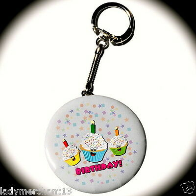 """Today's My Birthday"" Cupcake Key Tag Buttons/Wholesale Lot of 50/All New!"
