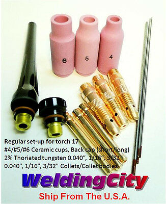 "TIG Welding Torch 17 Kit AK2 Collet-Cup-Cap-Tungsten 040""~3/32"" 