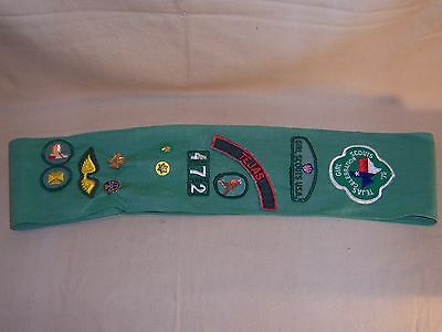 Vintage Girl Scout Sash With Badges, Pins And Patches  Texas and More