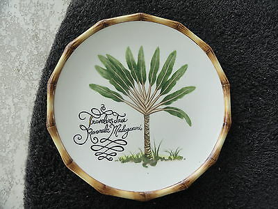 Fitz Floyd Cape Town Travelers Tree Bamboo Scallop Rim Off White Salad Plate
