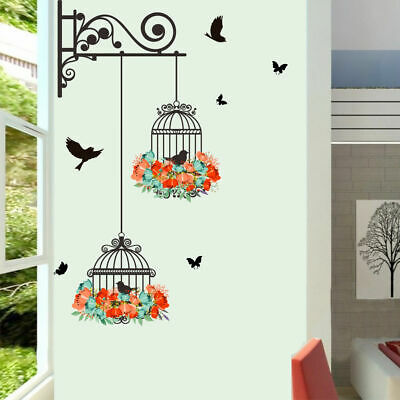 Birdcage Flower Removable Wall Stickers Vinyl Decals Baby Kids Nursery Decor DIY