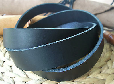 "50"" LONG BLACK 3-3.5mm THICK BRIDLE / BUTT LEATHER STRAP VEG TAN VARIOUS WIDTH"