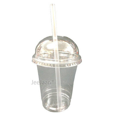 12Oz  Medium Smoothie Cups With Domed Lids Clear Plastic  Party Milkshake Juice