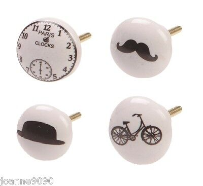 Ceramic Door Knob Drawer Pull Moustache Bike Clock Bowler Hat Retro Home Gift