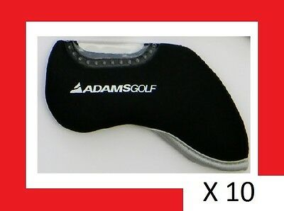 BLACK GOLF IRON HEAD COVERS With Adams Golf logo (Also known as Idea)...x 10 !