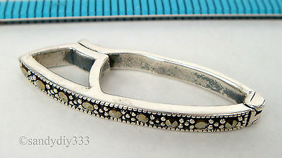 1x STERLING SILVER MARCASITE PEARL SHORTENER ENHANCER CLASP CONNECTOR #1816