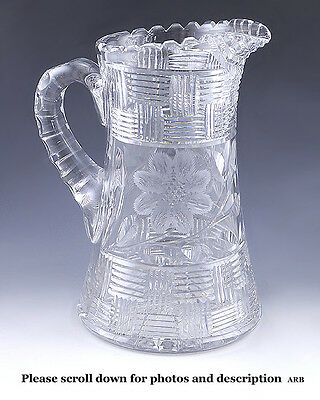 Early 20th Century ABP Cut Crystal Glass Pitcher Flower Motif