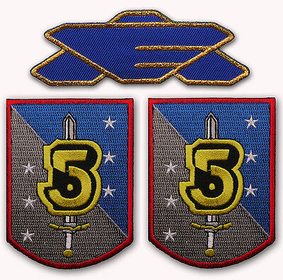 BABYLON FIVE Crew Embroidered Logo & Bab 5 Earth Alliance Patch Set - NEW